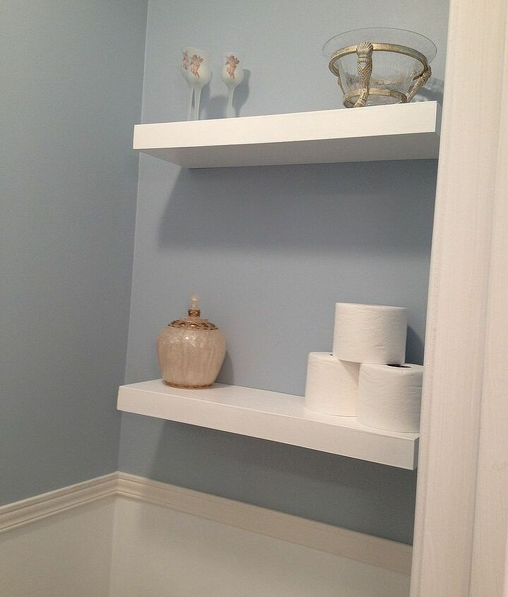 large bathroom mirror redo to double framed mirrors and cabinet, bathroom ideas, home decor, shelving ideas, finished floating shelf project