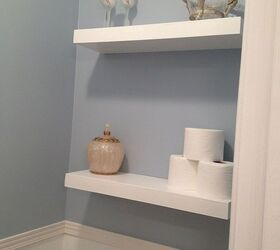 large bathroom mirror redo to double framed mirrors and cabinet bathroom ideas home decor finished floating shelf project
