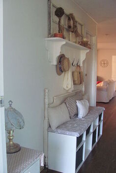 upcycled headboard into entry bench, foyer, repurposing upcycling, View as you walk in my front door