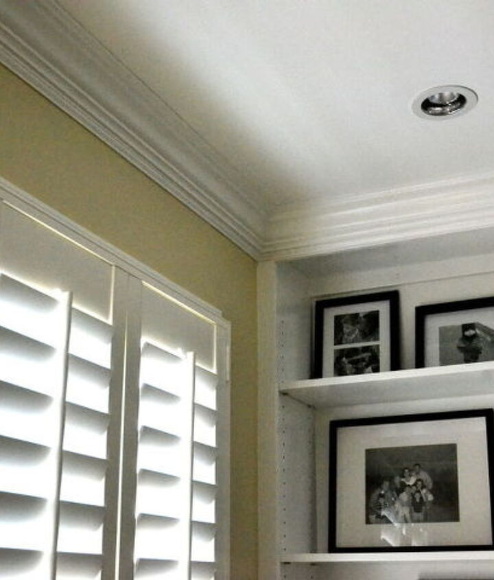 Office: Molding, plantation shutters, and paint
