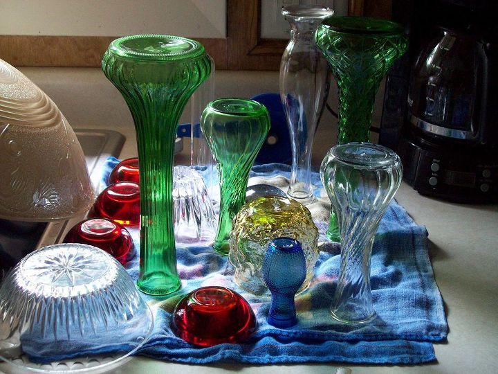 glass garden mushrooms, gardening, repurposing upcycling