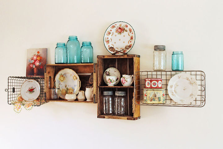 My vintage soda crate and wire basket shelves