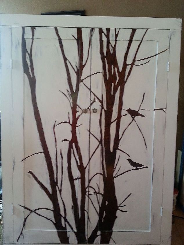 winter tree cabinet, chalk paint, kitchen cabinets, painted furniture, Completed
