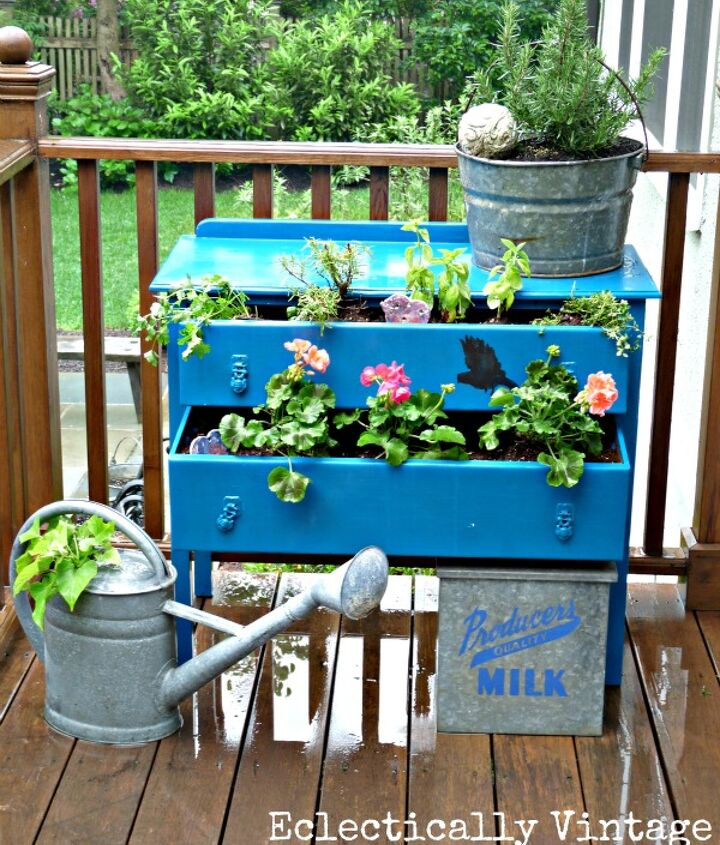 Thrift store dresser turned outdoor planter! http://eclecticallyvintage.com/2012/05/dress-up-your-plants-with-a-dresser/