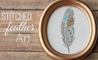 thrift store art makeover geometric stitched feather, crafts, Stitched Geometric Feather Art