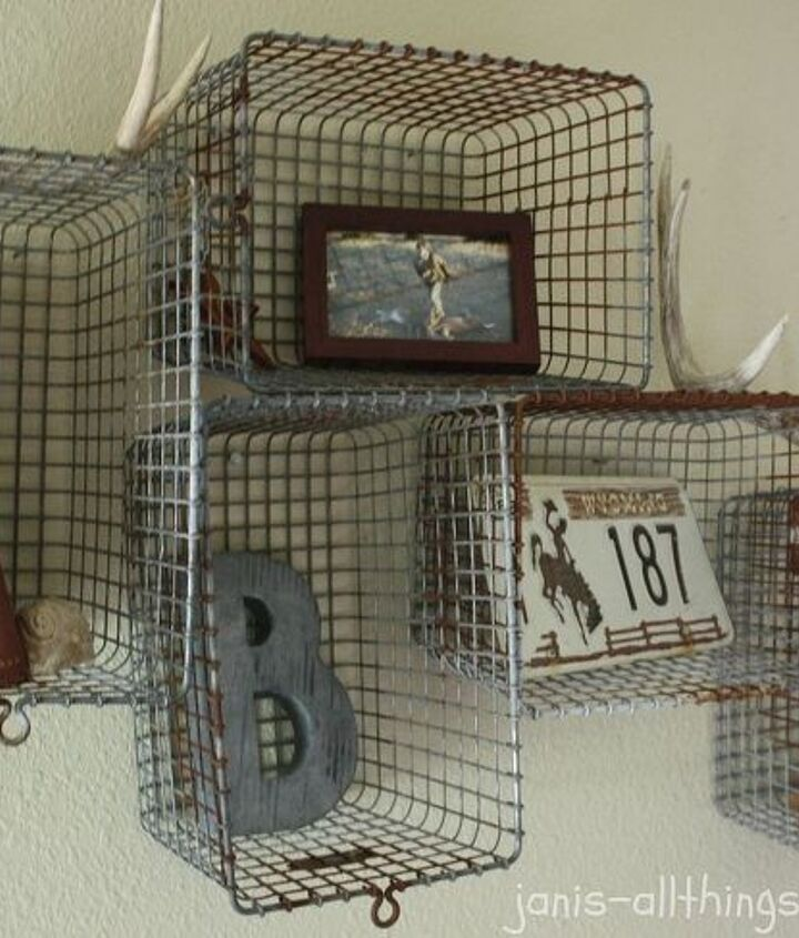 i repurposed gym baskets into shelves and a wall arrangement, cleaning tips, repurposing upcycling, shelving ideas, wall decor