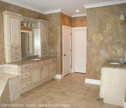 Fabric Damask Stencil on kitchen walls http://www.royaldesignstudio.com/products/fabric-damask-stencil