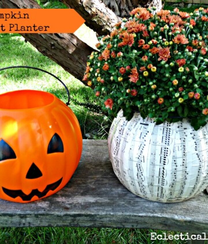 $1 Plastic Pumpkin Planter http://eclecticallyvintage.com/2012/09/1-pumpkin-music-sheet-planter/