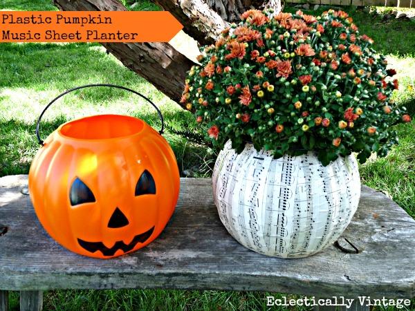 $1 Plastic Pumpkin Planter http://eclecticallyvintage.com/2012/09/1-pumpkin-music-sheet-planter/