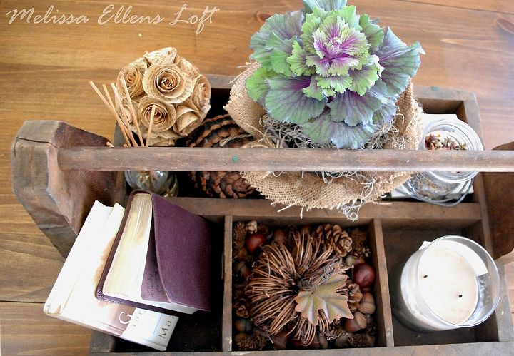 fall decor...vintage toolbox on the coffee table!