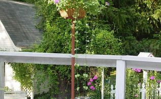 old wire egg basket and thrift store floor lamp stand repurposed into an outdoor, flowers, gardening, repurposing upcycling