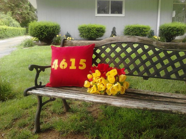 bench address pillow and flowers, crafts, flowers, gardening, outdoor living, red and yellow decorating outdoors