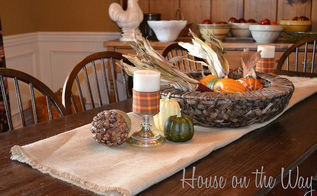 fall in love with your fall tabletops, seasonal holiday decor, Candles get a Fall treatment with some fall ribbon wrapped around them