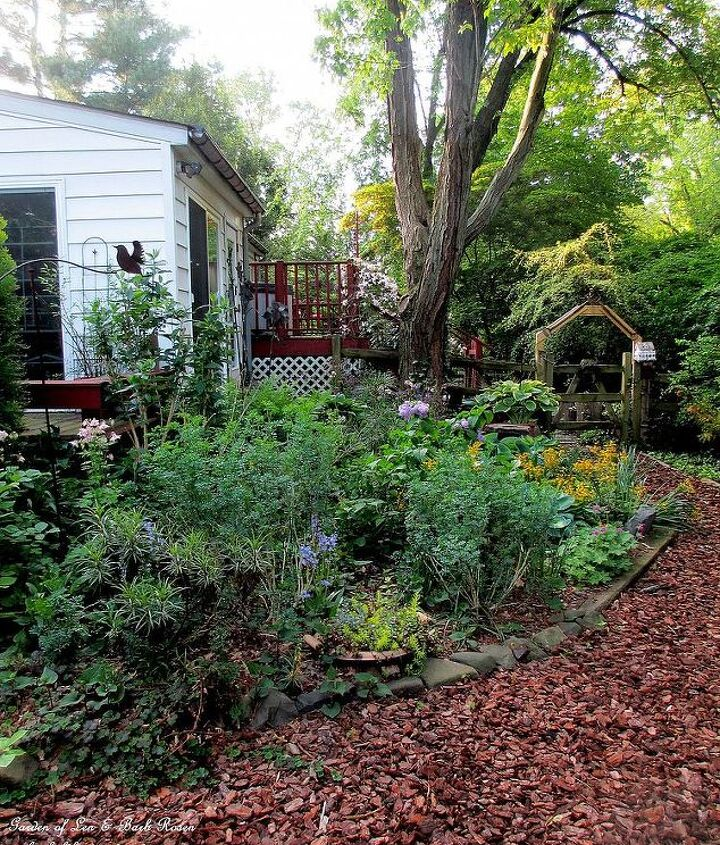 5 years before amp after in our fairfield garden, flowers, gardening, landscape, outdoor living, After the garage is now a garden room and a shade garden deck and arbor have been added