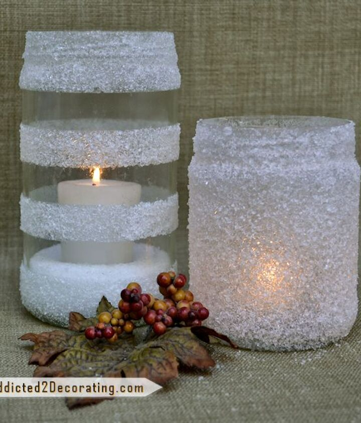 snowy winter candleholders made with epsom salt, crafts, decoupage
