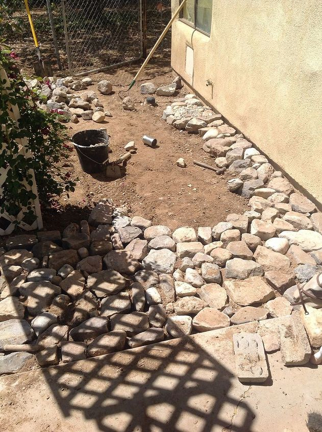 rock walkway, concrete masonry, landscape