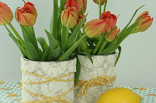 repurpose a can into a lace vase, crafts, home decor, repurposing upcycling, Repurposed can vase