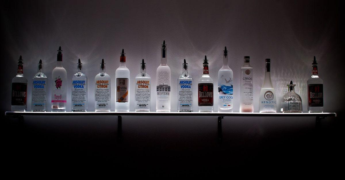 Led Lighted Wall Mounted Liquor Shelves Bottle Display