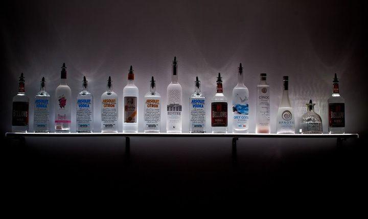 led lighted wall mounted liquor shelves bottle display, home decor, lighting, shelving ideas, WALL MOUNTING SHELF