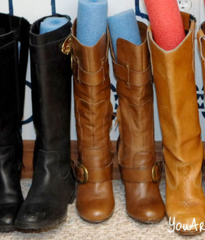 The noodles in the boots actually work great and SO cheap to keep your boots in great shape and tidy! http://www.youaretalkingtoomuch.com/2013/02/more-closet-organization-tips/