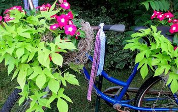 diy project my bicycle planter, gardening, repurposing upcycling, My bicycle planter complete with streamers