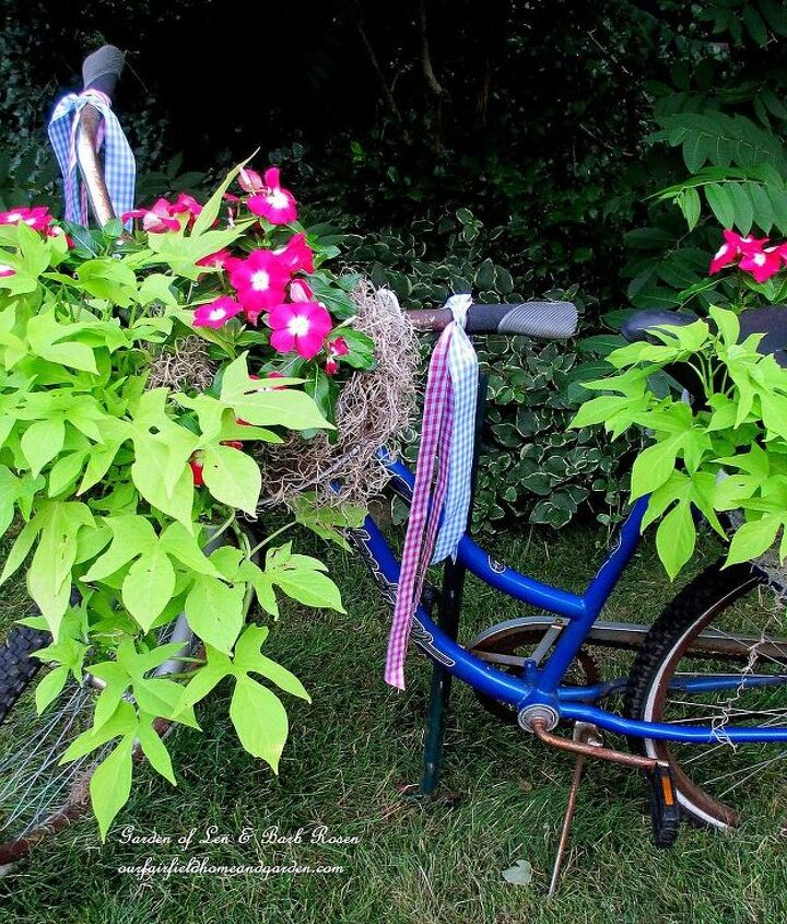 My bicycle planter complete with streamers!