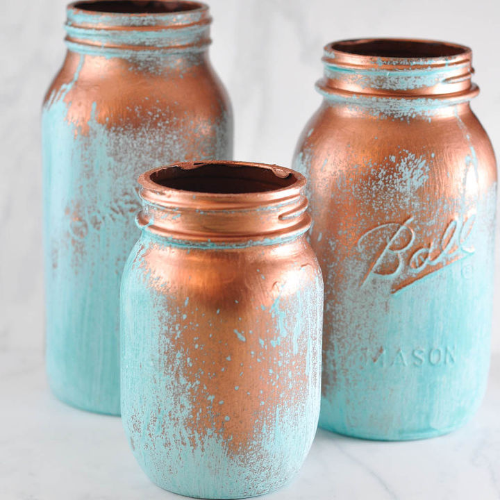 The patina dries into a beautiful greeny-blue verdigris. Perfect for a patio, as a vase.. or just as decor for the mantel!