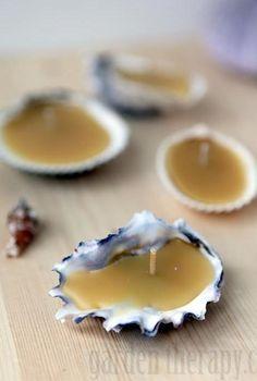 seashell beeswax tea lights, crafts