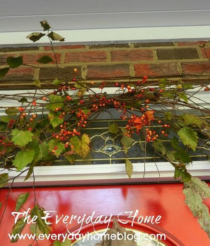 I added cuttings of grapevine and twigs from my yard above the door and embellished it with some bittersweet berries.