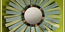 diy sunburst mirror tutorial, diy, how to, Here is my finished Sunburst Mirror made from shims and glass tiles