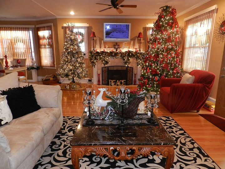 christmas tree decorating, seasonal holiday d cor, Living Room decorated with 2 Christmas trees