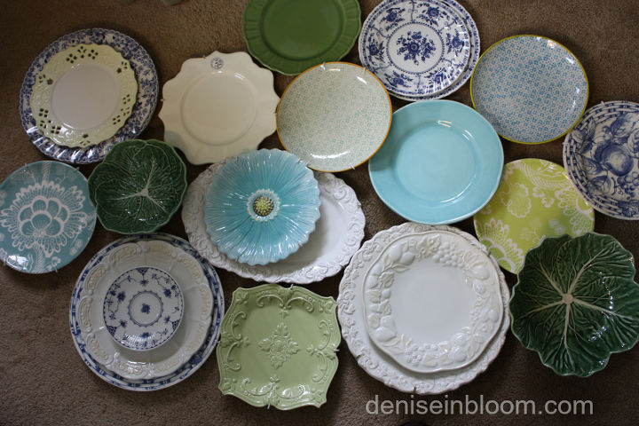 I first gathered plates in a variety of shapes, colors, and patterns.