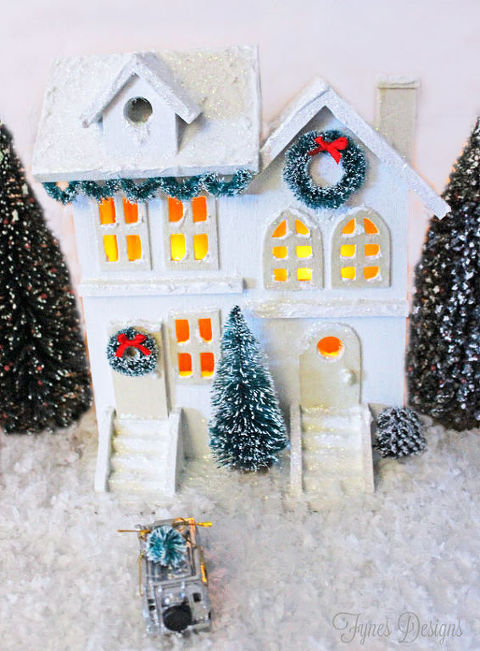 diy white christmas village christmas decorations crafts seasonal holiday decor wreaths - Christmas Village Decorations