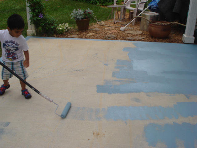 Diy Painting Concrete Patio Aqua Hometalk