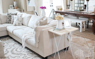 hamper turned into side table, home decor, living room ideas, painted furniture, repurposing upcycling, I love how this looks in my living room now It s perfect and narrow