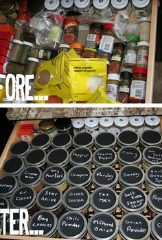 spice it up organizing your spice drawer, chalk paint, chalkboard paint, crafts, mason jars, organizing