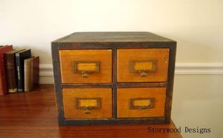 my lucky day at the thrift store a favorite find, painted furniture, My thrift store card catalog with its mini makeover