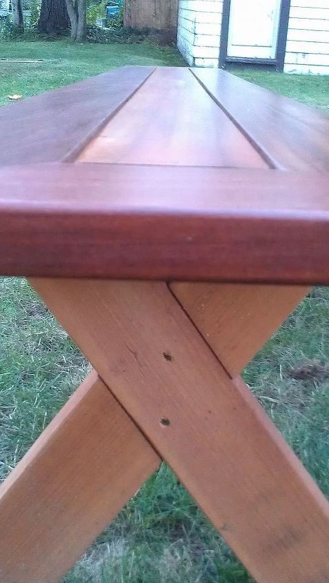 """Two 1 1/4"""" exterior screws, a tight dado, and some gorilla glue hold the bench legs together."""