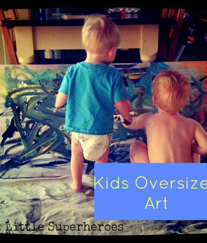 oversized art created by your own kids, home decor, painting