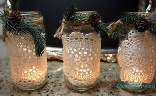 doily lanterns, crafts, decoupage, Dressed up for Christmas