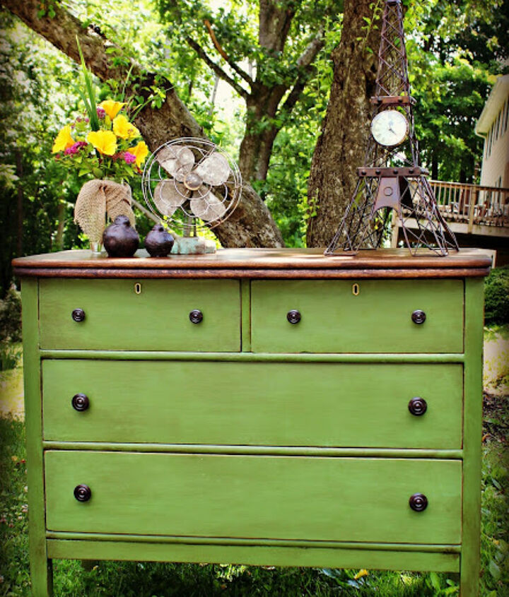 Dresser transformed with home made chalk paint and Annie Sloan dark soft wax
