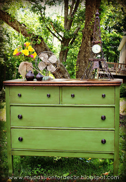 White And Neglected Craigslist Dresser Turned Green Beauty