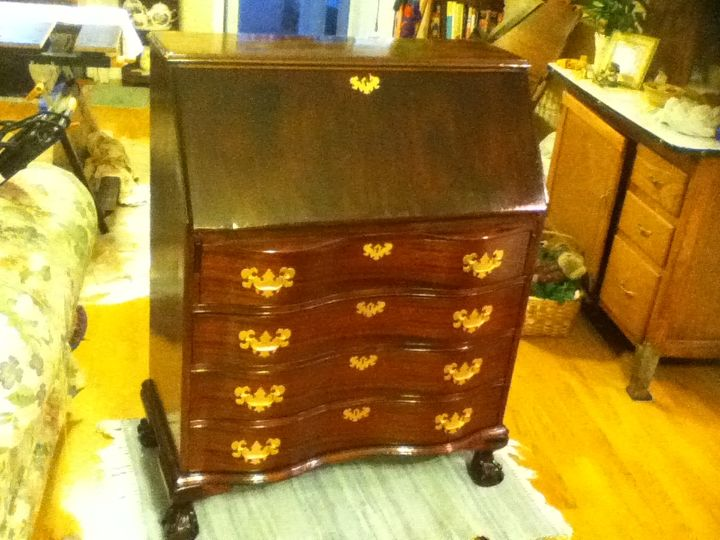 70 year old antique secretary desk, painted furniture, My sister brought  this to Florida - 70 Year Old Antique Secretary Desk Hometalk
