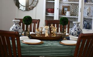 blue green and gold fall tablescape, seasonal holiday decor