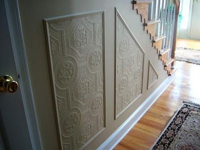 faux carved wainscoting using textured wallpaper, home decor, wall decor, Faux Carved Wainscoting
