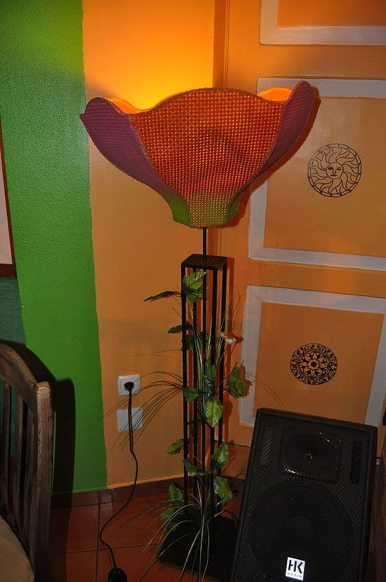 the lamp i made, at the pub, with the mandalas i painted