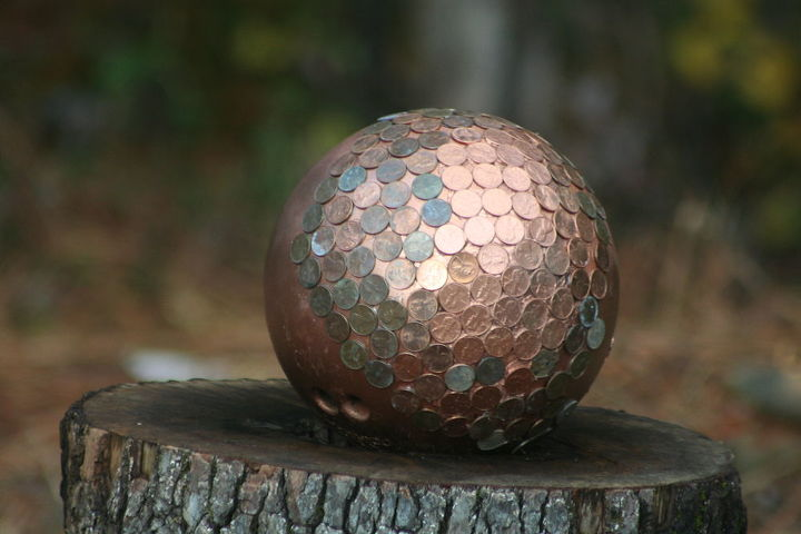 time to finish my penny gazing bowling ball, repurposing upcycling, Pennies from heaven 0