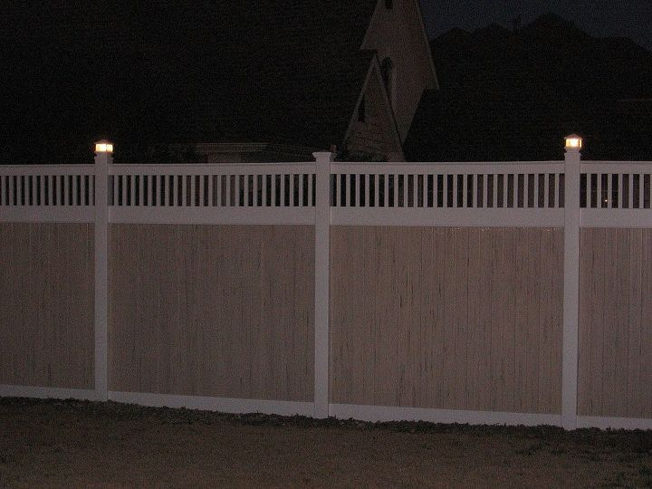 Vinyl Privacy Fence Fences You Can Add Solar Or Electric Lights On Your Post