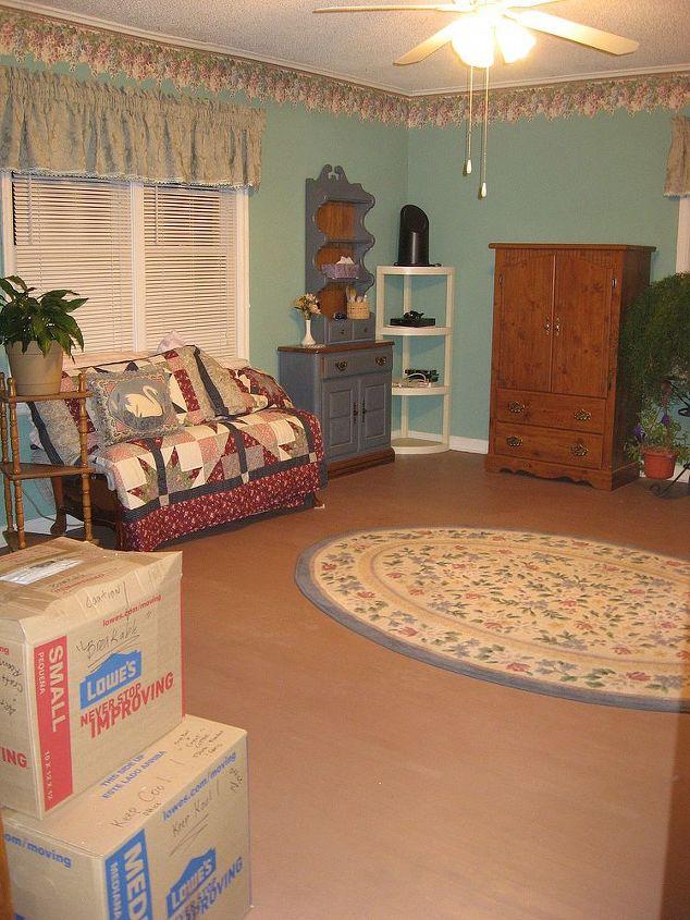 Master Bedroom ... painted hardwood floors... light green walls
