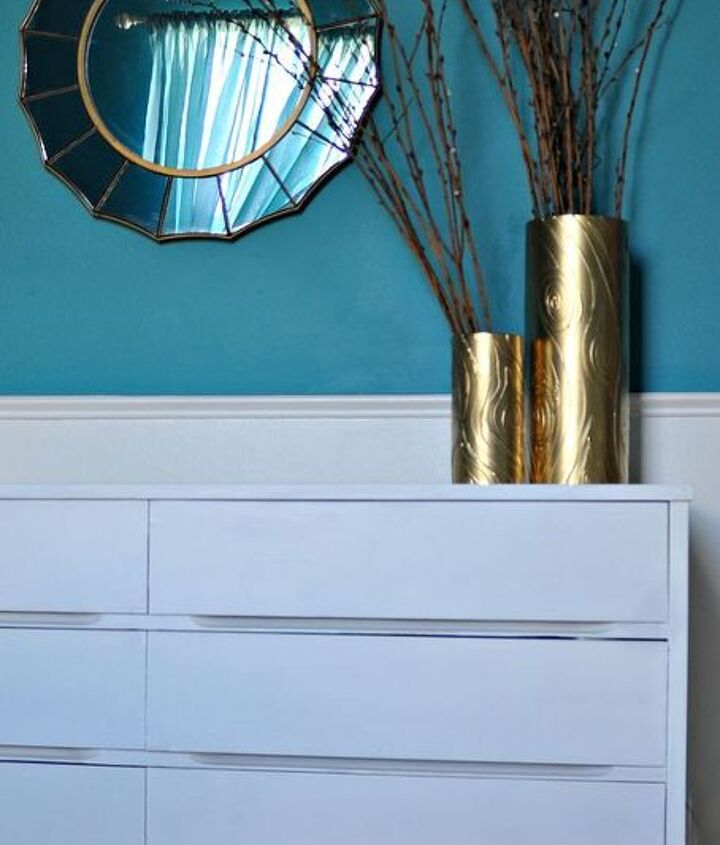 http://www.firsthomelovelife.com/2013/03/diy-white-and-gold-painted-mid-century-dresser.html